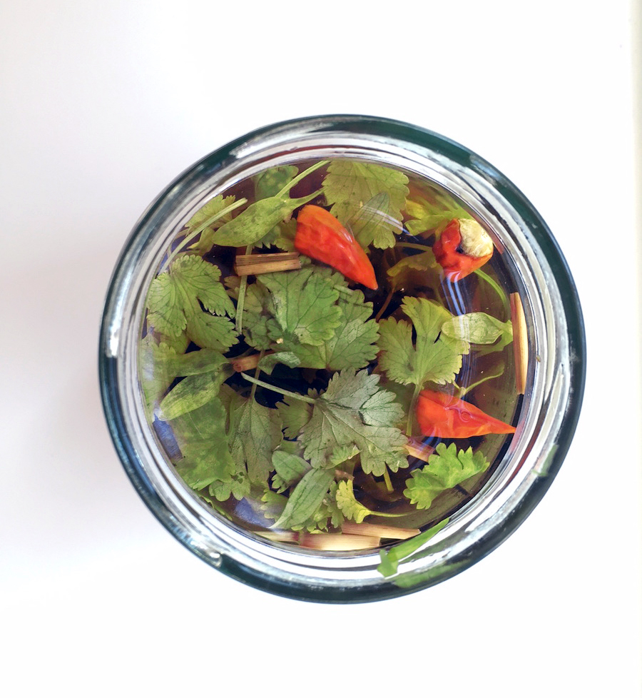 Et glas Aalborg Basis Snaps fyldt med asiatiske smage.