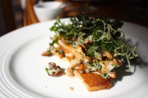 Da vi spiste på MEST, var svampesæsonen netop begyndt, så dagens ret var svampetoast med blandt andet kantareller; ren velsmag, der stadig sidder klart i hukommelsen.