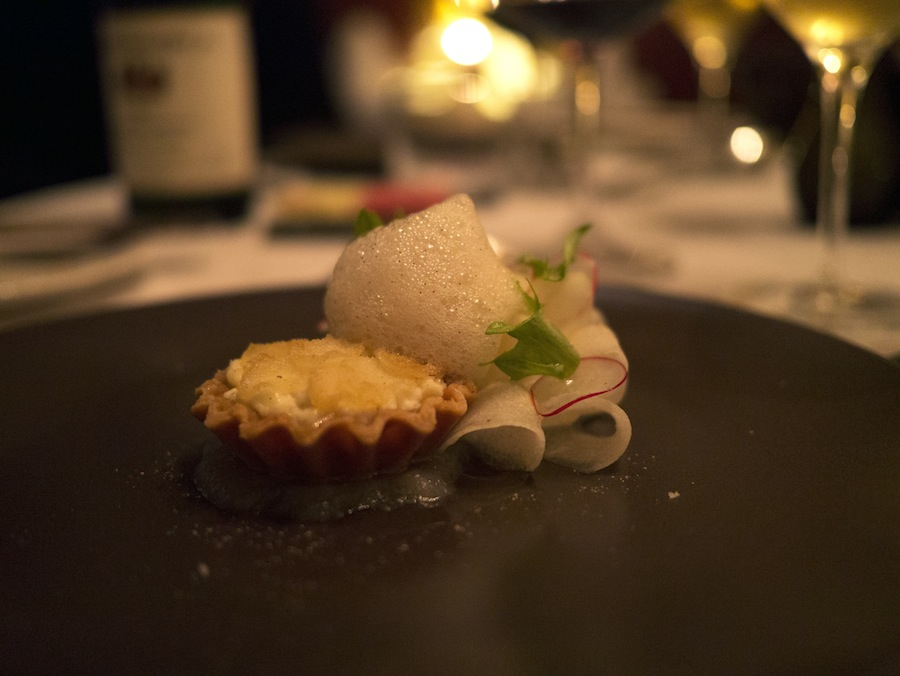 Goat's cheese in a crispy shortbread crust with pear puree.