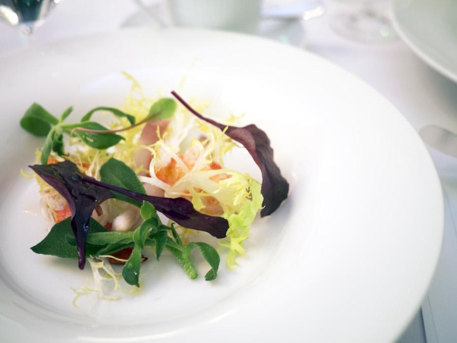 En let salat med hummerklo, jomfruhummer og knivmuslinger. Simpelt og velsmagende.