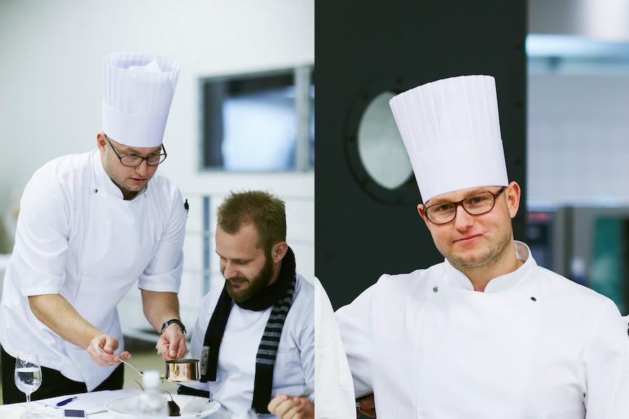 Vinderen af Årets Vildtret 2012, Brian Mark Hansen, serverer for dommer Mikkel Marschall, der er dygtig køkkenchef på Kadeau Bornholm.